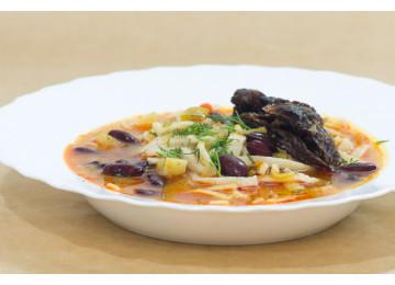 Суп фасолевый с сушеным мясом  / 400 гр